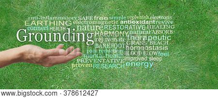 Grounding Earthing Word Tag Cloud - Female Hand Palm Up Outstretched With The Word Grounding Floatin