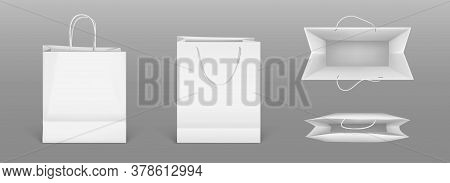 White Paper Shopping Bags Front And Top View. Vector Realistic Mockup Of Blank Packet With Handles I