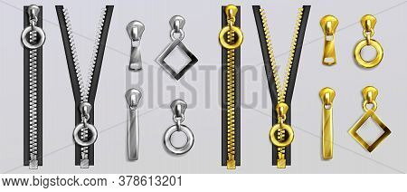 Silver And Gold Zippers With Different Shapes Pullers Isolated On Gray Background. Vector Realistic