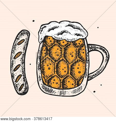Glass Of Beer With German Sausage. Oktoberfest Clip Art, Set Of Elements. Alcohol. Food, Eat. Bar, P