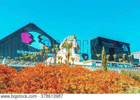 Main Street Of Las Vegas Is The Strip. Casino, Hotel And Resort Luxor.