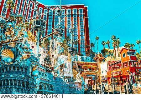 Main Street Of Las Vegas Is The Strip. Casino, Hotel And Resort Treasure Island.