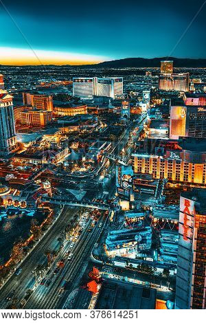 Main Street Of Las Vegas-is The Strip In Evening Time.