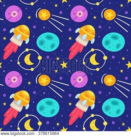 Space, Night Sky Vector Flat Seamless Pattern, Background. Rocket, Alien Spaceship, Planet, Star, Mo