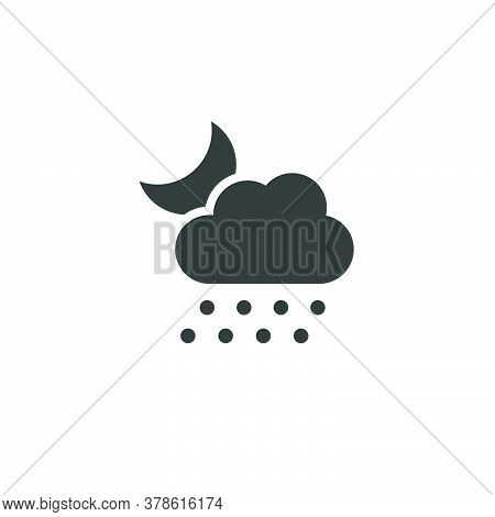 Hail, Cloud And Moon. Isolated Icon. Night Weather Glyph Vector Illustration