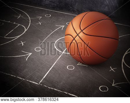 Basketball Standing On Game Strategy Blackboard. 3d Illustration.
