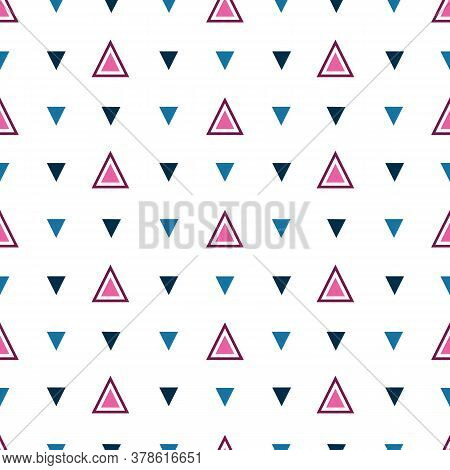Vector Simple Triangle Geometric Seamless Pattern Background. Modern Design With Pink, Burgundy Red,