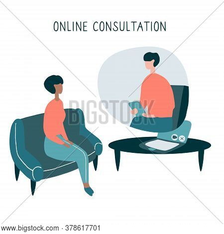Patient Talking To Psychologist. Psychotherapy Counseling. Online Therapy Session. Flat Vector Graph