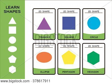 2d Geometric Shapes. Basic Geometrical Shapes For Children. 6 Flashcards. Learning Shapes Educationa