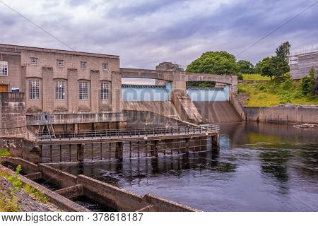 Pitlochry Dam, Hydro Electric Power Station And Salmon Ladder At Twilight, Pitlochry, Perthshire, Sc