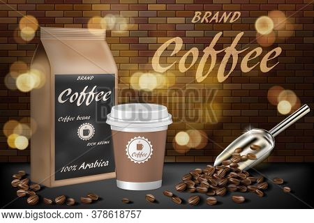 Coffee Paper Cup With Beans Ads. 3d Illustration Of Hot Arabica Coffee. Product Paper Bag Package De