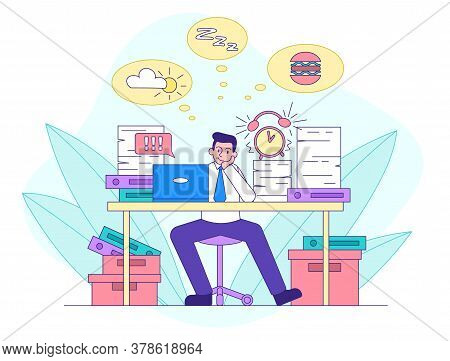 Procrastination Concept With Businessman Daydreaming About Matters Unrelated To His Work As The Task