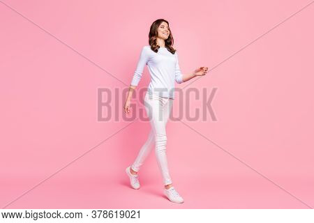 Full Size Profile Photo Of Attractive Pretty Lady Good Mood Walking Down Street Amazing Warm Weather