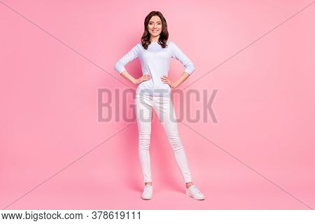 Full Length Photo Of Stunning Attractive Pretty Lady Toothy Beaming Smiling Good Mood Street Look Ha