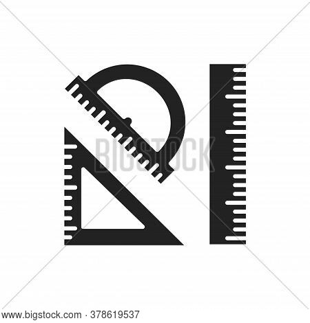 Rulers Black Glyph Icon. Measuring Tools: Ruler, Triangle, Protractor. Correct Form And Sizes. Schoo