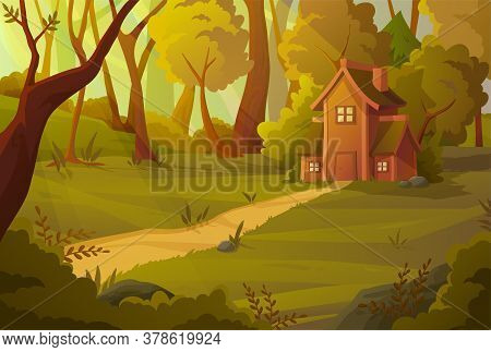Little House Nestling In A Summer Forest Surrounded By Green Trees With A Path Leading To The Door,