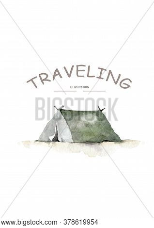 Cartoon Tent And Set Bonfire Isolated. Sports Tourism Nature. Tents Camping. The Journey To The Moun