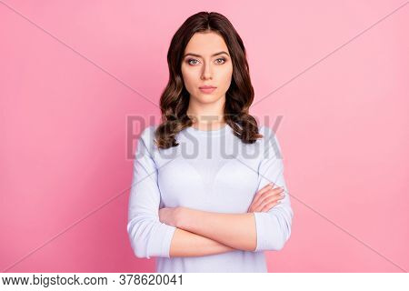 Photo Of Attractive Pretty Lady Not Smiling Self-confident Business Woman Arms Crossed Bossy Look We