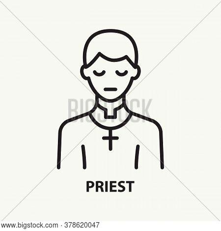 Priest Line Icon. Praying Pastor Avatar. Vector Illustration.