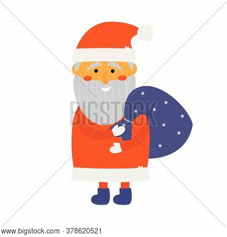 Illustration Of Cute Santa Claus With A Purple Bag Of Gifts On His Shoulder. For The New Year, Chris