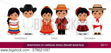 Venezuela, Chile, Colombia. Men And Women In National Dress. Set Of Latin Americans Wearing Ethnic C
