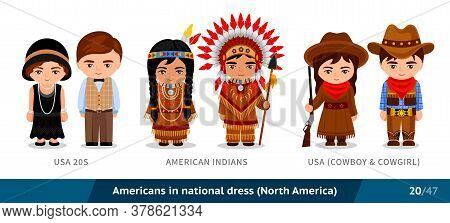 Usa 20s, American Indians, Usa, Cowboy And Cowgirl. Men And Women In National Dress. Set Of People W