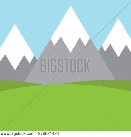 Vector Flat Cartoon Mountains And Valley Landscape Background