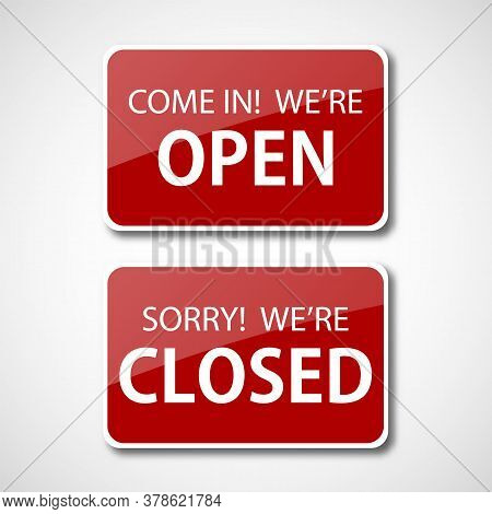 Realistic Red Open And Closed Sign For Door. Open And Closed Shop Sign
