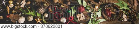 Flat-lay Of Christmas, New Year Holiday Background, Wide Composition