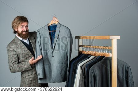 Designing New Clothes. Businessman. Confident Tailor Designing Male Jacket. Handsome Sartor With Tap
