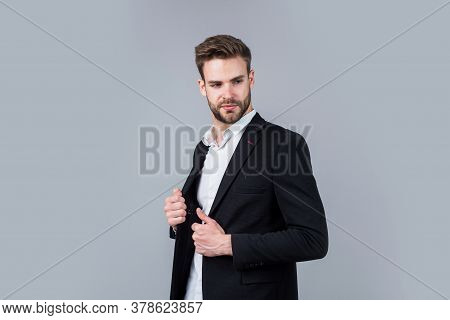 Cool And Sexy. Modern Office Life. Charismatic Business Owner. Stylish Realtor. Handsome Man Wear Fo