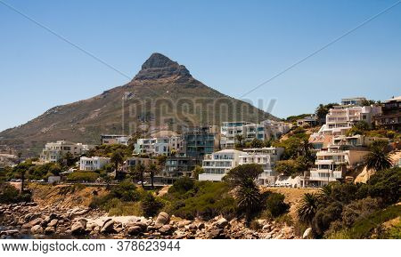 Cape Town, South Africa, February 17 2017: View Of Lions Head Mountain And Apartment Buildings With