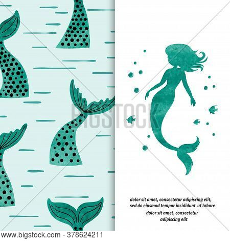Mermaid Set. Mermaid Silhouette And Tails Pattern. Textile, Fabric Design.