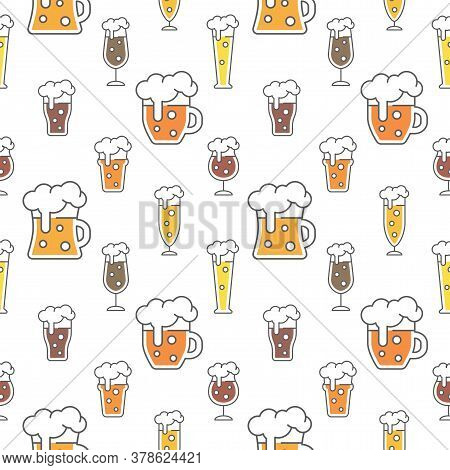 Beer Types Colorful Seamless Pattern Design. Beer Glasses For Ale, Weizen, Pint And Mug, Cute Vector