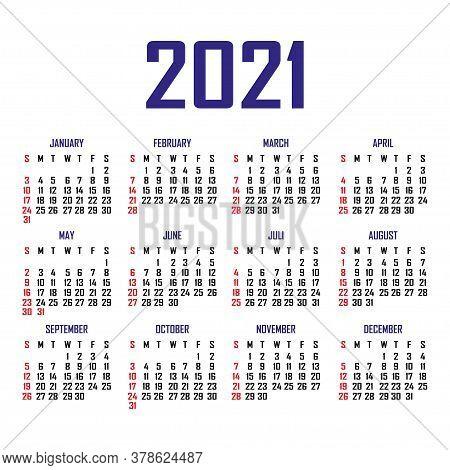Calendar 2021. The Week Begins On Sunday. Simple Calendar Template. Portrait Of Vertical Orientation