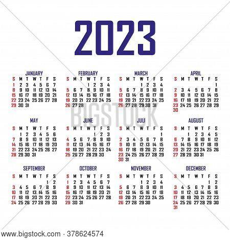 Calendar 2023. The Week Begins On Sunday. Simple Calendar Template. Portrait Of Vertical Orientation