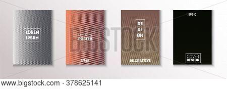 Wavy Minimal Cover Vector Set. Modern Flyer Paper Design. Cool Technology Background. Textured Gradi
