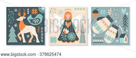 Set Of Three Scandinavian Christmas Or Winter Scenes In Muted Greens And Orange Depicting A Reindeer