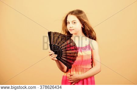 Small Girl With Lace Black Fan. Fashion Accessory. Elegant Little Lady. Beauty And Fashion. Little G