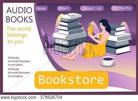 Girl Sitting In A Pile Of Books. Template For The Site. Landing Page. Audiobook Concept. Books Onlin