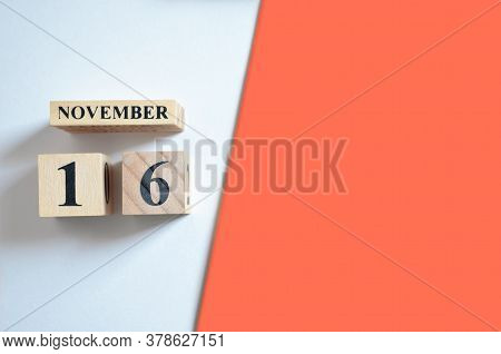 November 16, Empty White - Red Background With Number Cube.