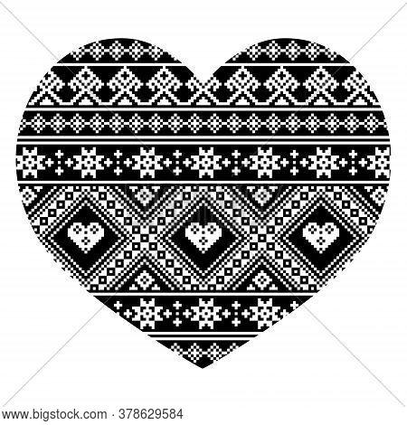 Ukrainian And Belarusian Folk Art Pattern, Heart Shape With Traditional Cross-stitch Embroidery Desi