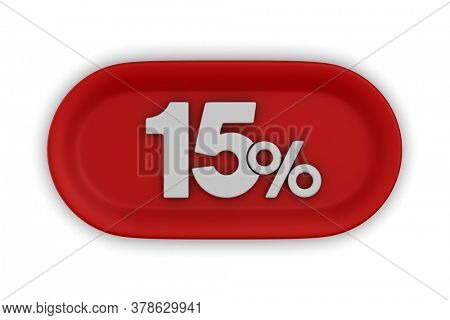 Button with fifteen percent on white background. Isolated 3D illustration