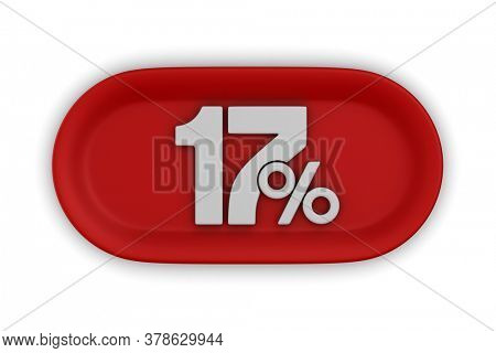 Button with seventeen percent on white background. Isolated 3D illustration