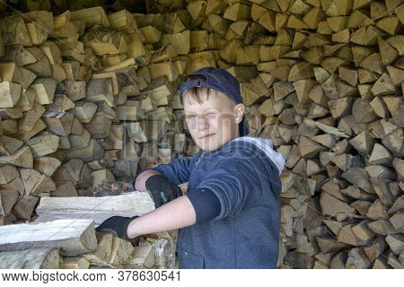 Child Pile Up Chopped Dry Firewood. Boy On The Background Of Chopped Firewood. Lumber For The Winter
