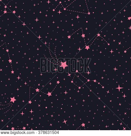 Vector Stars And Constellations Seamless Pattern. Constellations In The Night Sky. Night Sky Pattern