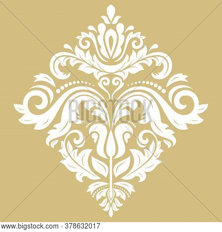 Oriental Vector White Pattern With Arabesques And Floral Elements. Traditional Classic Ornament. Vin