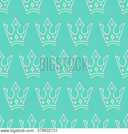 Hand Drawn Crowns. Seamless Pattern Of Simple Graffiti Sketch Queen Or King Crowns. Royal Imperial C