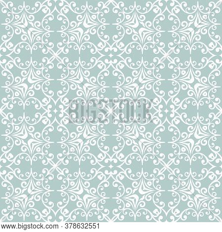 Classic Seamless Vector Pattern. Damask Orient Ornament. Classic Vintage Background. Light Blue And