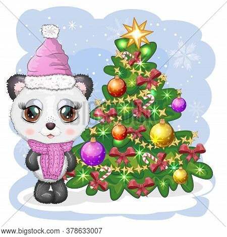 Cute Cartoon Panda Bear With Big Eyes In A Scarf And Hat Near The Christmas Tree, Boy And Girl, Gree